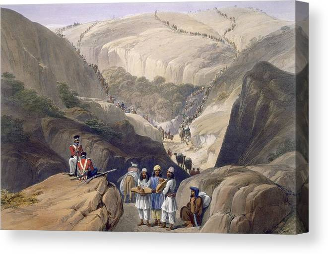 Afghanistan Canvas Print featuring the drawing The First Descent Through The Koojah by James Atkinson