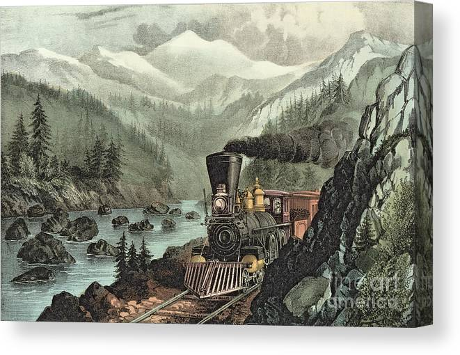 Cowcatcher Canvas Print featuring the painting The Route To California by Currier and Ives