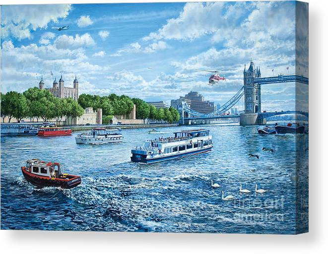 Boats Canvas Print featuring the digital art The Tower Of London by Steve Crisp