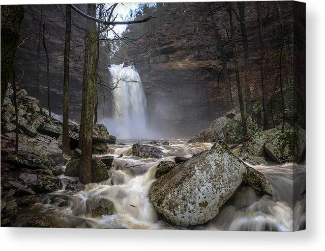 Cedar Falls Canvas Print featuring the photograph Thundering Cedar by David Dedman