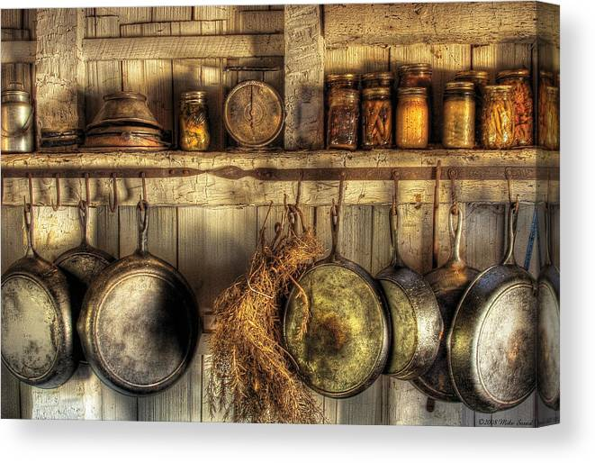 Kitchen Canvas Print Featuring The Photograph Utensils   Old Country Kitchen  By Mike Savad