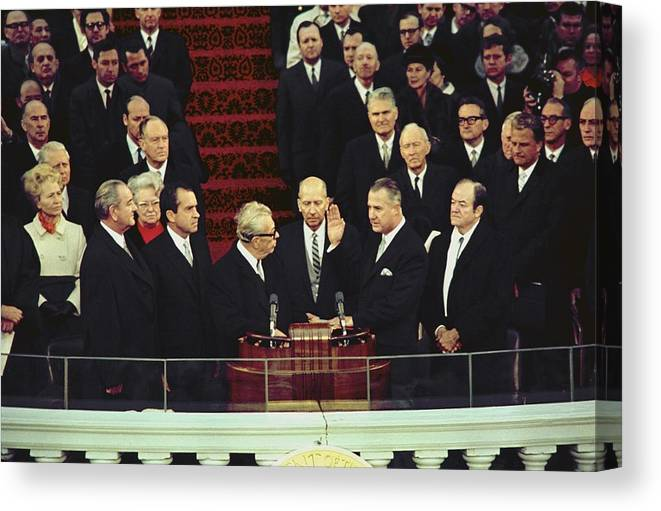 History Canvas Print featuring the photograph Vice-president Elect Spiro Agnew Takes by Everett