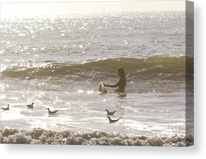 Surf Canvas Print featuring the photograph Waiting by Matthew Trudeau