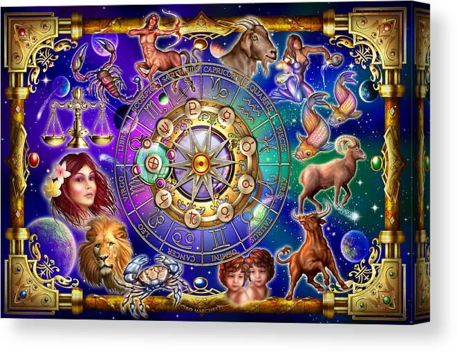 Ciro Marchetti Canvas Print featuring the digital art Zodiac 2 by MGL Meiklejohn Graphics Licensing