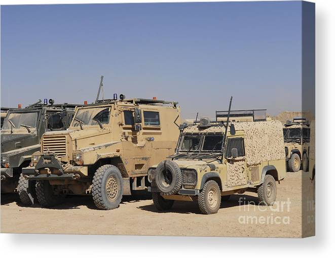 4x4 Canvas Print featuring the photograph A British Armed Forces Snatch Land by Andrew Chittock