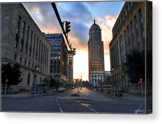 Canvas Print featuring the photograph Early Morning Court Street by Michael Frank Jr
