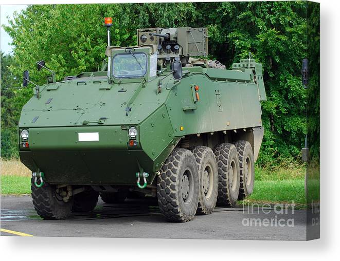 Armament Canvas Print featuring the photograph The Piranha IIic Of The Belgian Army by Luc De Jaeger