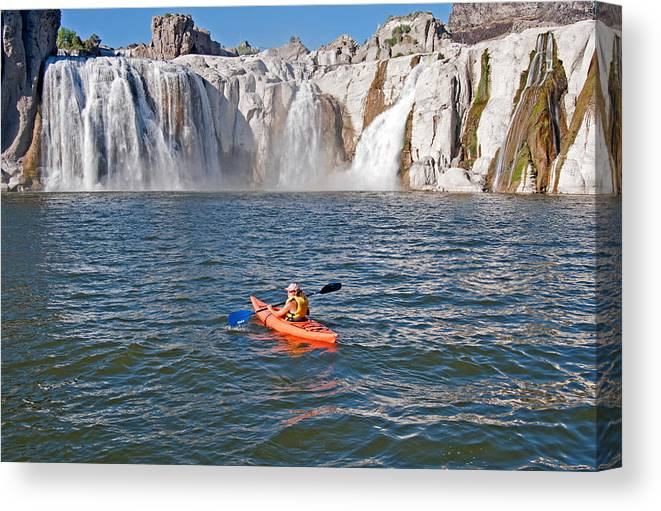 Jessica Florian Canvas Print featuring the photograph Kayaking by Elijah Weber