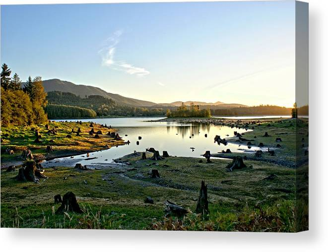 Alder Canvas Print featuring the photograph Alder Lake Wa At Sunset by Rob Green