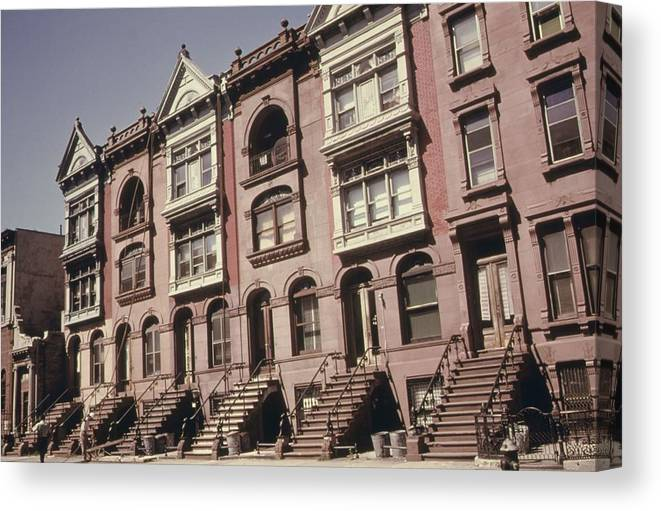 History Canvas Print featuring the photograph Brownstone Apartments Under Renovation by Everett