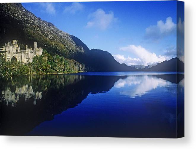 Abbey Canvas Print featuring the photograph Church At The Waterfront, Kylemore by The Irish Image Collection