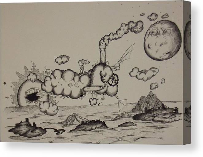 Landscape Canvas Print featuring the drawing Clouds by Matthew Wright