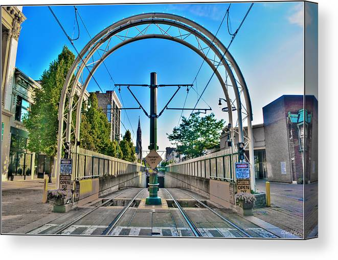 Canvas Print featuring the photograph Coming And Going Downtown Main St by Michael Frank Jr