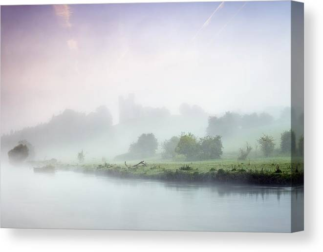 County Meath Canvas Print featuring the photograph Dunmoe Castle Seen Through The Mist On by Peter McCabe