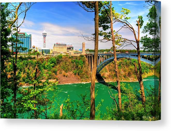 Canvas Print featuring the photograph From Usa To Can Over The Rainbow Bridge by Michael Frank Jr