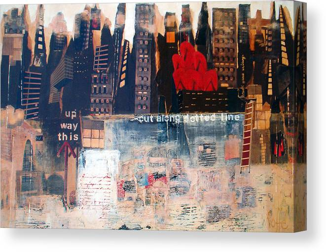 Mixed Media Painting Depicting The Glass Ceiling Canvas Print featuring the mixed media Glass Ceiling by Jo Roffe