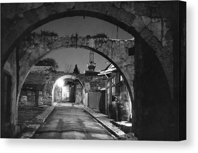 limassol Canvas Print featuring the photograph Moonlight View Of Market Street, Odos by W. Robert Moore