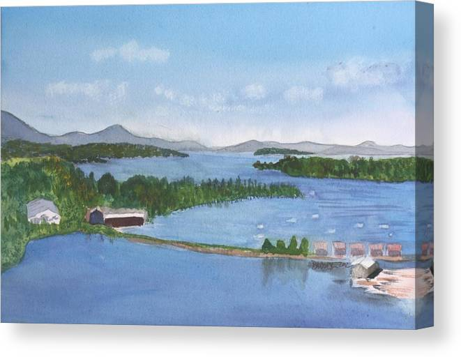 Newport Canvas Print featuring the painting Newport Vermont Aerial by Donna Walsh