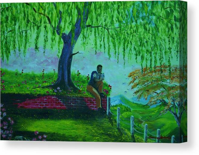 Nature Canvas Print featuring the painting reading Watchtower 2 by Lorenzo Roberts
