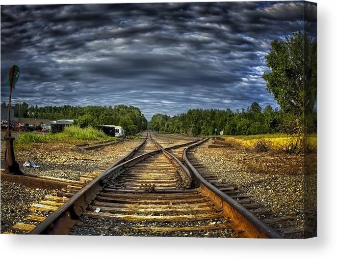 Rail Road Canvas Print featuring the photograph Riding The Tracks by Gary Smith