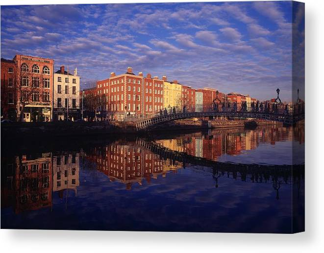 Atmosphere Canvas Print featuring the photograph River Liffey And Halfpenny, Bridge by The Irish Image Collection