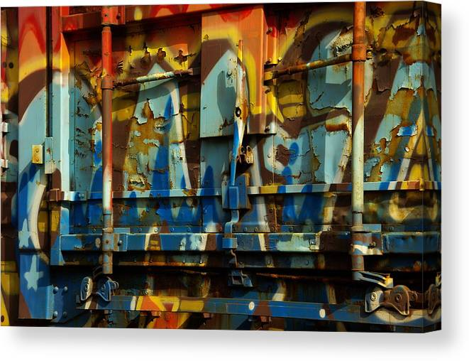 Rust Canvas Print featuring the photograph Rusted Graffiti by Jenny May