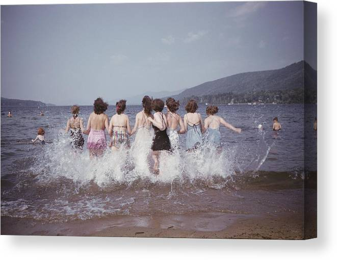 lake George Canvas Print featuring the photograph Splashing Into Lake George by B. Anthony Stewart