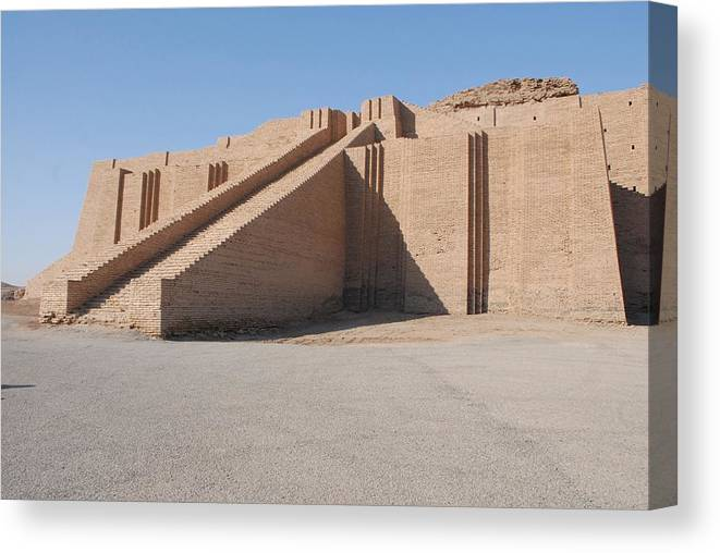 History Canvas Print featuring the photograph The Great Ziggurat Of Ur Was Built by Everett