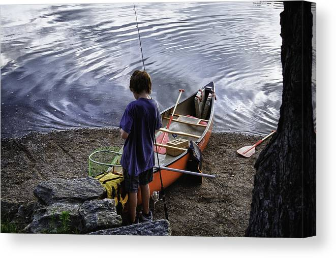 Fishing Canvas Print featuring the photograph The Little Fisherman by Kate Hannon