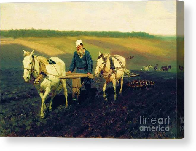 Pd Canvas Print featuring the painting Tolstoy In The Ploughland by Pg Reproductions