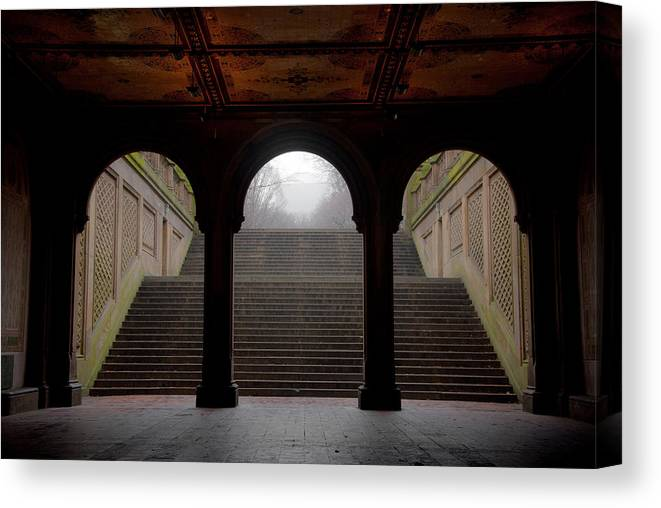 Bethesda Terrace Canvas Print featuring the photograph Under Bethesda by Heidi Reyher