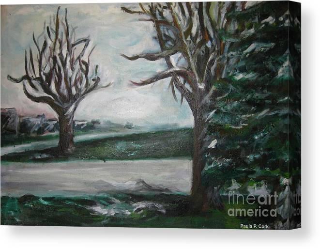 Winterland Slumber Canvas Print featuring the painting Winterland Slumber by Paula Cork