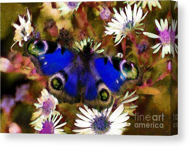 Blue Butterfly Canvas Print featuring the drawing Blue Butterfly by Sergey Lukashin