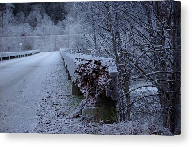 Ice Canvas Print featuring the photograph Ice Bridge by Cindy Johnston