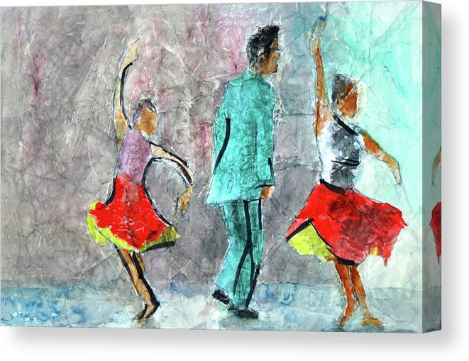Dance Series Canvas Print featuring the painting A Dance For Three by Donna Crosby