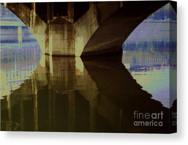 Reflective Art Lyon France River Saonne Water Travel Film Stock Architectural Bridge Stock Shot Tranquil Meditation Wood Print Canvas Print Poster Print Metal Frame Available On Greeting Cards Throw Pillows Tote Bags Mugs Phone Cases Shower Curtains T Shirts Pouches And Weekender Tote Bags Canvas Print featuring the photograph A Reflective Moment In Lyon by Marcus Dagan