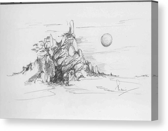 Nature Canvas Print featuring the drawing A Tree Rocks And The Sun by Padamvir Singh