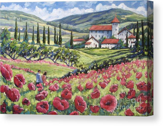 Tuscan Canvas Print featuring the painting Afternoon Stroll by Richard T Pranke