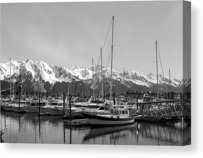 Black And White Canvas Print featuring the photograph Alaskan Harbor by Ty Nichols