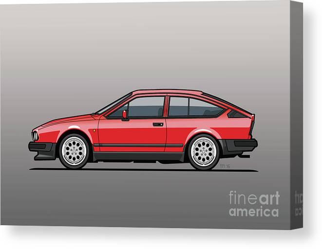Alfa Romeo Canvas Print featuring the digital art Alfa Romeo Gtv6 Red by Monkey Crisis On Mars