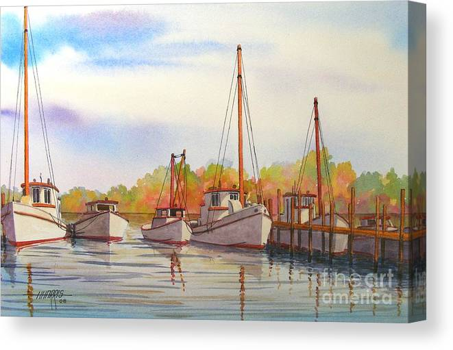 Autumn Canvas Print featuring the painting Autumn Harbor by Hugh Harris