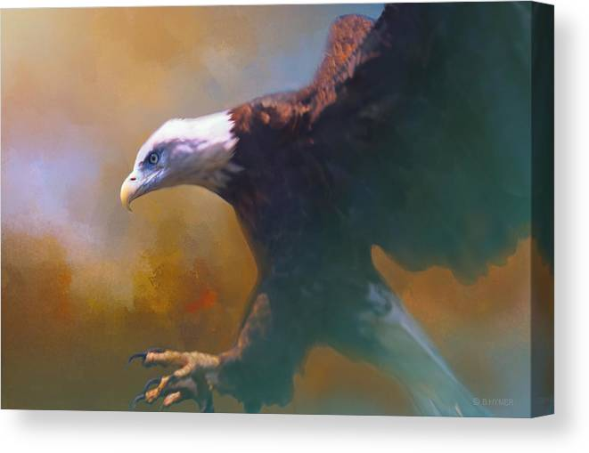 Eagle Canvas Print featuring the photograph Bald Eagle Landing by Barbara Hymer