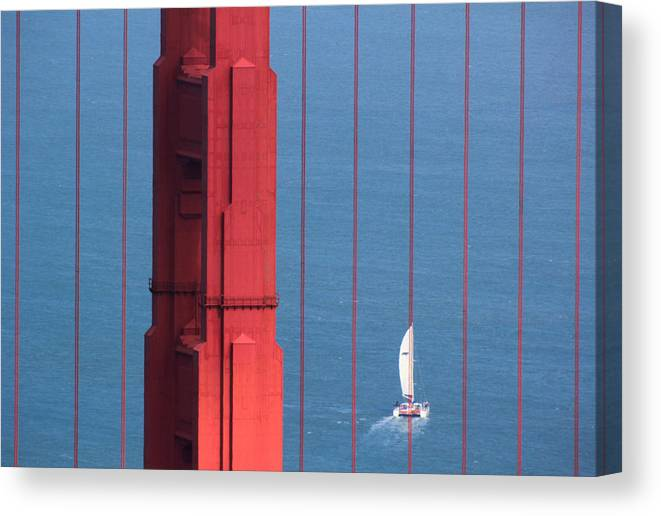 Barcode Canvas Print featuring the photograph Barcode Of The Bay Scanned With Sails On A Beautiful Day by Nick Mattea