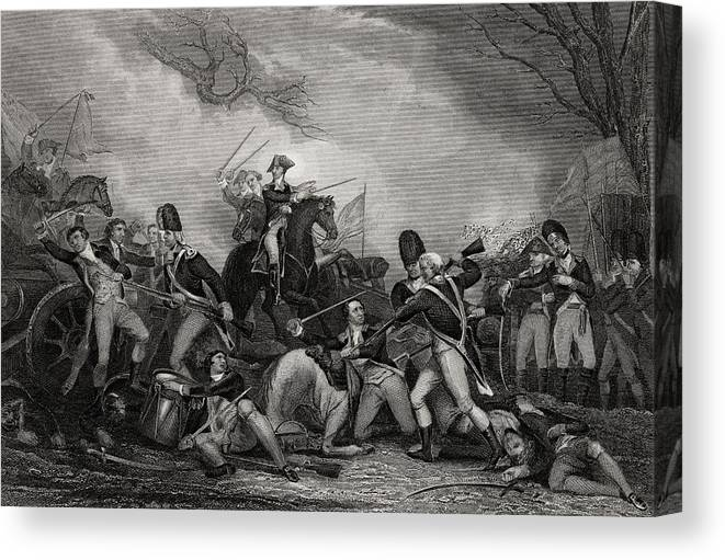 American Canvas Print featuring the drawing Battle At Princeton New Jersey Usa 1775 by Vintage Design Pics