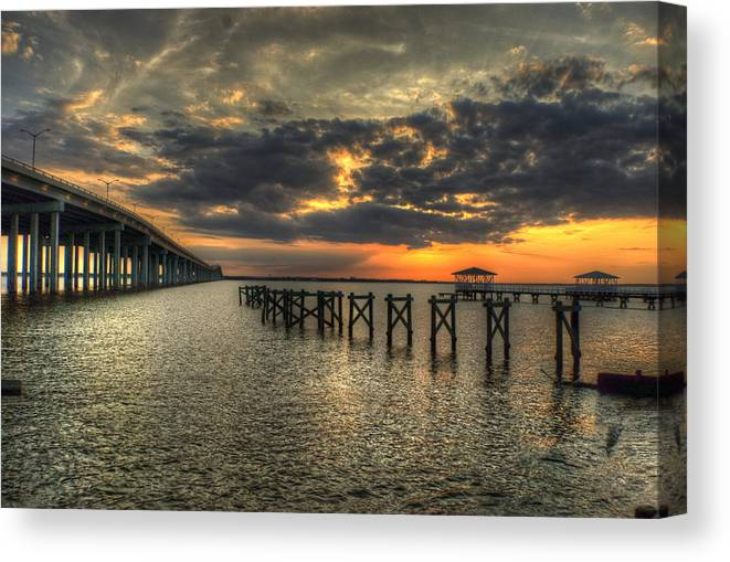 Bay St. Louis Canvas Print featuring the photograph Bay Bridge Sunset by Beth Gates-Sully