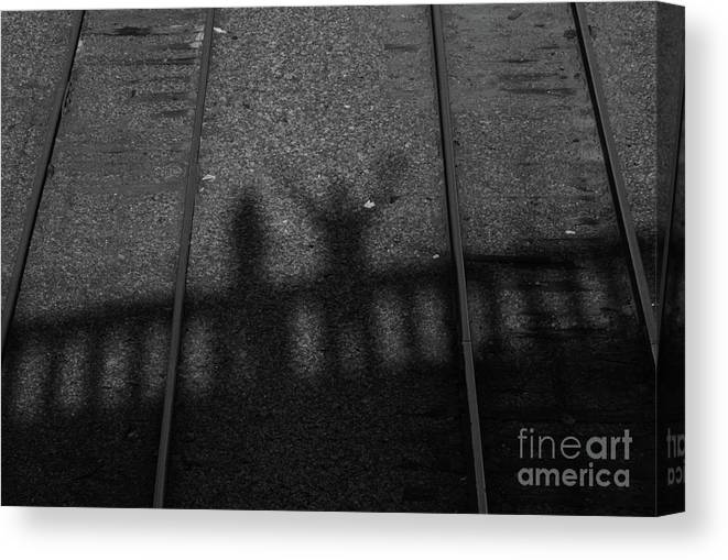 Shadow Canvas Print featuring the photograph Beware Of The Shadows Black And White by Karol Livote