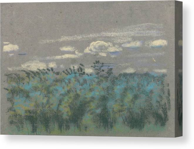 19th Century Art Canvas Print featuring the pastel Blue Thicket by Arthur Bowen Davies