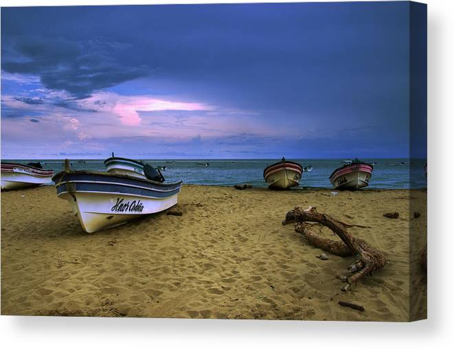 Beach Canvas Print featuring the photograph Boats In Pedasi by Iris Greenwell