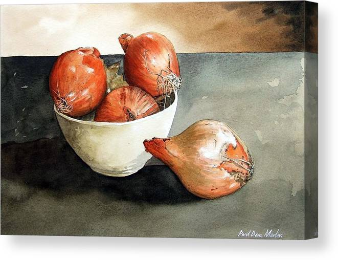 Still Life Canvas Print featuring the painting Bowl Of Onions by Paul Dene Marlor