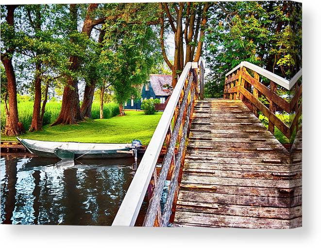 Water Canvas Print featuring the photograph Bridge And River In Old Dutch Village by Ariadna De Raadt